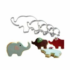New listing 4 Pack Elephant Cookie Cutter Shapes Set Stainless Steel Elephant Shaped Baby.