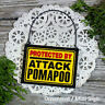 DECO Mini Fun Sign PROTECTED BY ATTACK POMAPOO Wood Ornament * Pomeranian Poodle