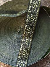 "10 Yds Awesome Jacquard Ribbon 5/8"" wide Black/ Olive/ Moss nice trim"