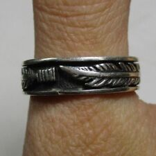 Vintage Cast Sterling Silver Double Feather 6.7mm Band Ring, size 11.5