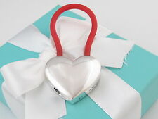 Auth Tiffany & Co Silver Red Rubber Heart Keychain Key Ring Chain Box Included