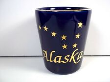 Alaska souvenir ceramic shot glass gold stars & lettering on cobalt blue