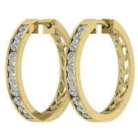 Hoop Earrings Natural Diamond SI1 G 1.15Carat Channel Set 14K Gold Appraisal