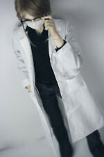 """1/4 White Doctor Long Coat Outfits For 1/4 17"""" Tall BJD AOD AS MSD DD DK Dollfie"""