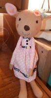 "The Peanut Shell Doe Knit Plush Pink Dress Stuffed Animal Toy Deer 15"""