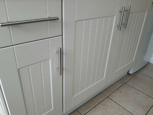 New kitchen Ivory replacement grooved shaker panel cupboard door & drawer fronts