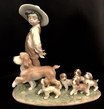 "Lladro ""My Little Explorers"" (6828 Mint in Box) Puppies/Kid/Boy/Children"