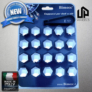 (20) NEW 17MM HEX CHROME CAP COVERS LUG BOLT NUT BMW 1/2/3/4/5/6/7/ WHEELS ITALY