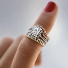 3.50Ct Diamond Emerald Cut 14K White Gold Fn Engagement Ring Wedding Band Set
