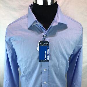 Nautica Classic Fit Wrinkle Free Performance Dress Shirt Blue XL 17 34/35 AA10