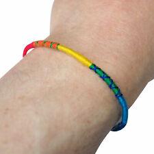 Cotton Rainbow Bracelet Wristband Bangle Mens Womens Ladies Boys Girls Jewellery