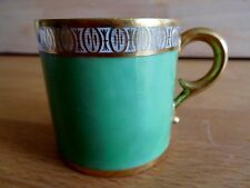 ANTIQUE FRENCH DIHL PORCELAIN COFFEE CAN ON AN GREEN GROUND dated 1785