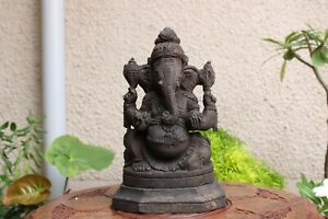 Antique Ganesha Statue Ganesh Hindu God Hand Carved Sculpture Wooden Temple Idol