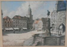Victorian Town Square Watercolour by Peter Meyer 1800s