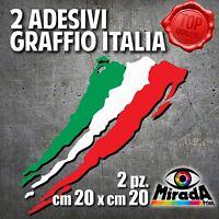 Adesivi Sticker GRAFFIO ITALIA ITALY FLAG BANDIERA MOTO AUTO BICI 20x20 2 PZ.