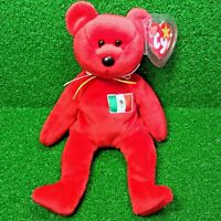 Ty Beanie Baby Osito The Mexican Flag Teddy Bear - MWMT - Exclusive Flag