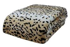 ODYSSEY LARGE Q / KING BEIGE CHEETAH LEOPARD BED LOUNGE THROW BLANKET 240x260cm