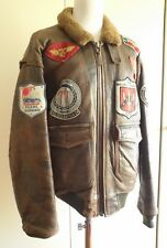 "AVIREX G-1 TOP GUN PEARL HARBOUR VINTAGE AVIATOR FLIGHT LEATHER JACKET PELLE ""M"""