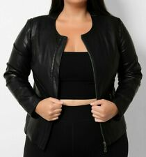 NEW LADIES BLACK FAUX LEATHER ZIP UP BIKER JACKET PLUS SIZE UK 16 18 20 22