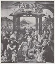 D6675 Ghirlandaio - Arrivo e adorazione Re Magi - Stampa d'epoca - 1909 print
