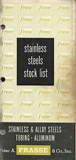 Vintage Stainless Steel Stock List Peter A Frasse & Co Circa 1950's