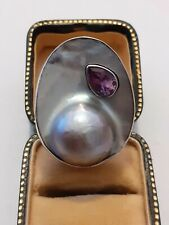 Vintage sterling silver blister pearl and amethyst statement ring hallmarked