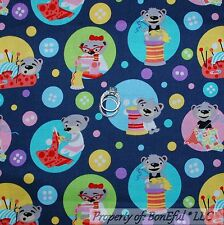 BonEful Fabric FQ Cotton Quilt Gray Pink Blue Bear Thread VTG Sewing Machine Dot