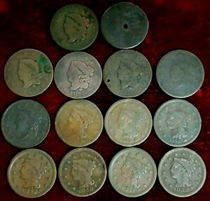 Coronet Head and Braided Hair Large Cent Cull Lot (14) Coins