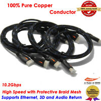 Braided Ultra HD HDMI Cable V1.4 High Speed 1080p 3D CHROME HDTV Gold ARC US LOT