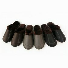 Winter Faux Leather Slippers Fleece Lined Shoes Non-Slip Flat Warm Indoor