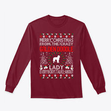Merry Christmas Golden Doodle Lady Ugly Gildan Long Sleeve Tee T-Shirt
