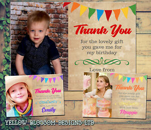 10 Thank You Card With Photo Personalised Rainbow Christmas Birthday Christening