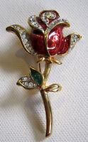 Red Rose Pin Enamel and Rhinestones Goldtone Possibly Vintage