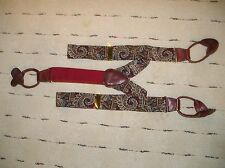 Silk Suspenders/ Braces Burgundy Blue Gold Gray Paisley Design