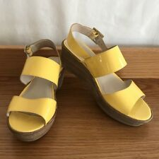💎 WITTNER LEATHER YELLOW AND BROWN WOOD WEDGE SANDAL HEELS Sz 37 7 5