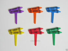 12 Crayon Bilinguial Cup Cake Food Picks Topper Decor Kid Party Baking Supply