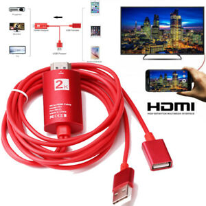 2K USB iOS Android Phone to HDMI TV Cable Adapter For iPhone XR 8 Samsung Huawei