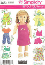"""18"""" Doll Clothes Dress Top Shorts Skort Cover Up Simplicity 4654 Sewing Pattern"""