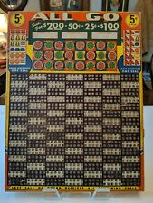 """VINTAGE LARGE GAMBLING PUNCH BOARD TRADE STIMULATOR """"ALL GO"""" 5 CENTS  12"""" x 16"""""""