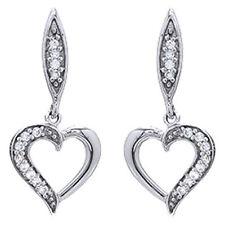 1/10 Cttw Round Cut Diamond Heart Dangle Earrings 10K Solid White Gold