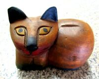 ANTIQUE HAND CARVED WOOD RECLINING CAT ASIAN ART  NICE ONE