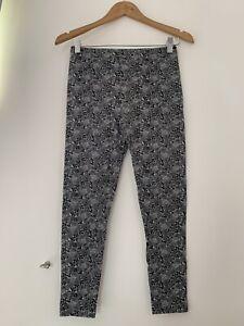 Womens Leggings Grey XS 6 Floral Casual Cotton Blend <JJ13515z
