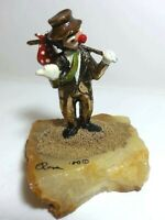 RON LEE 80 SIGNED BRONZE FIGURINE CLOWN THE HITCHHIKER 24K GOLD ONYX BASE