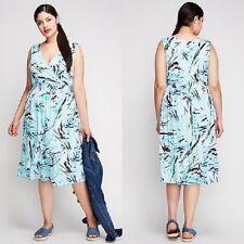 Lane Bryant Women's Aqua Print Smocked Waist Sleeveless Dress Size 22/24