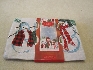 Table runner tapestry 13 X 36 inches St Nicholas Square snowman new fabric