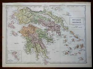 Southern Greece Morea Peloponnesus Attica Athens Sparta 1876 A. & C. Black map