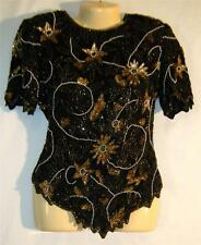 Lawrence Kazar Black Gold Silk Sequin Beaded Pearl Trophy Cruise Top Blouse S