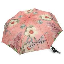 Vintage Dragonfly Pink Lilac Flower Compact Auto Open & Close Umbrella 44""