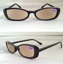 Tinted Lens +2.00 Reading Glasses Ready Sun Readers - Black Plastic Frame E +2