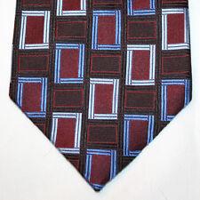 NEW Siena Silk Neck Tie Burgundy with Black Light & Medium Blue Pattern 1267
